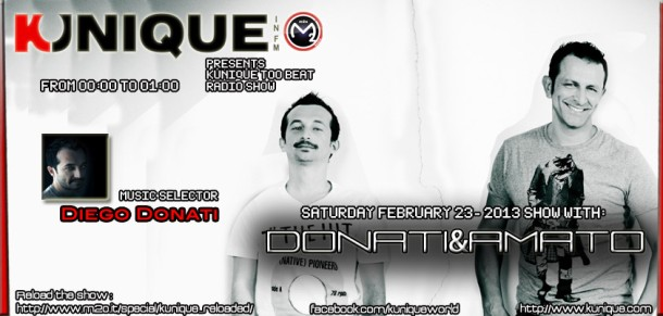 Kunique Too Beat Radio M20 Saturday February 23-2013 Guest Donati&Amato
