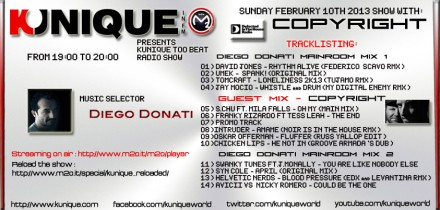 "Kunique Too Beat ""RADIO SHOW"" (Radio M2O) February 10-2013 On Air ""COPYRIGHT & Diego Donati"""