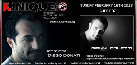 Kunique Too Beat Radio Show on Radio M2O Sunday February 17 2013 On Air Diego Donati Guest Gianni Coletti