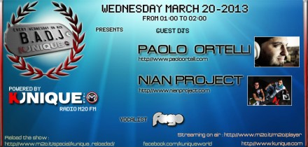 Kunique Badj (Radio M2O) Wednesday March 20 Guest Paolo Ortelli & Nian Project