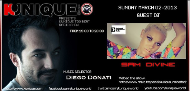 Kunique Too Beat Radio M2O Sunday March 03 – 2013 Guest On Air Sam Divine