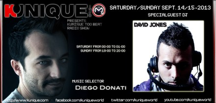 "Kunique Too Beat Radio Show Saturday September 14-2013 Special Guest On Air ""DAVID JONES"""
