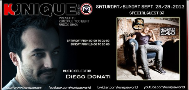 Kunique Too Beat Radio M2o Saturday & Sunday September 28/29 On Air Federico Scavo