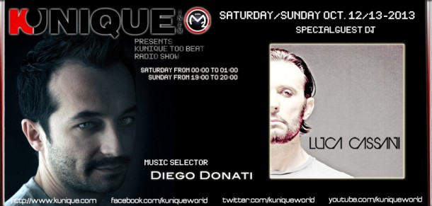 Kunique Too Beat Radio M2O Saturday & Sunday October 12/13 On Air Luca Cassani