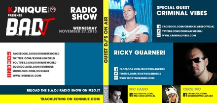 Kunique Badj Radio M2O Wednesday November 27 Special guest on air Criminal Vibes & Ricky Guarneri