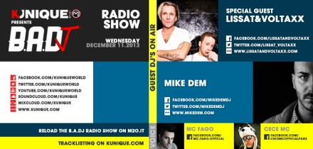 Kunique Badj Radio M2O Wednesday December 11 Special Guest On Air: Lissat&Voltaxx & Mike Dem