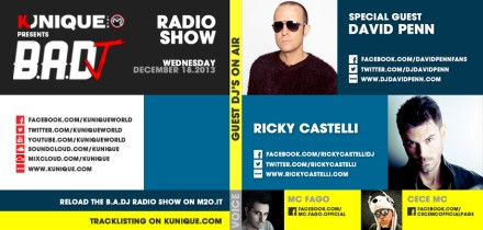 Kunique Badj Radio M2O Wednesday December 18 Special Guest David Penn & Ricky Castelli