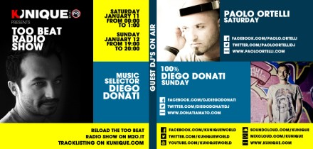 Kunique Too Beat Radio M2O Saturday & Sunday January 11/12 On Air Paolo Ortelli & 100% Diego Donati