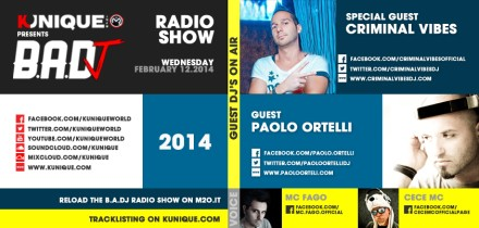 Kunique Badj Radio M2O Wednesday February 12 On Air Criminal Vibes & Paolo Ortelli
