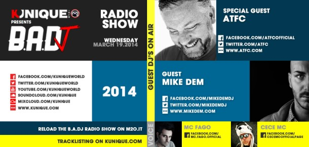 Kunique Badj Radio M2O Wednesday March 19 Guest Atfc & Mike Dem