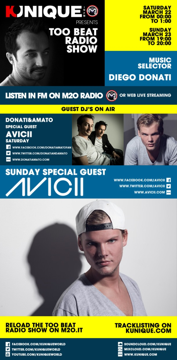 Kunique Too Beat Radio M2O March 22/23 Special Guest On Air AVICII & Donati&Amato