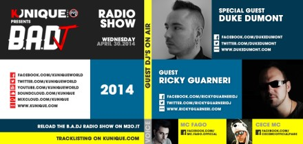 Kunique Badj Radio M2O Wednesday April 30 On Air Duke Dumont & Ricky Guarneri