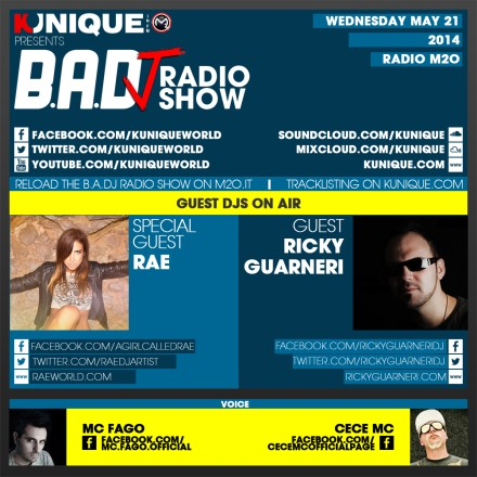 Kunique Badj Radio M2O Wednesday May 21 On Air Dj Rae & Ricky Guarneri