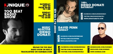 Kunique Toot Beat Radio M2O Saturday & Sunday May 03/04 On Air 100% Diego Donati & David Penn