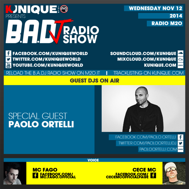 Kunique Too Beat Radio M2O – Wednesday November 12 – Guest Paolo Ortelli