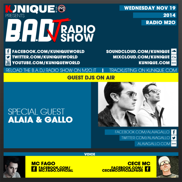 Kunique TooBeat Radio M2O – Wednesday November 19 – Guest Alaia&Gallo