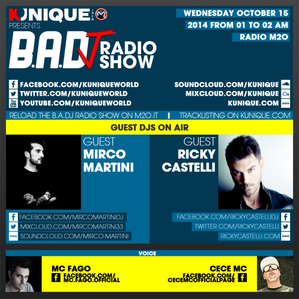 Kunique Too Beat Radio M2O – Wednesday October 15 – Guest Mirco Martini & Ricky Castelli