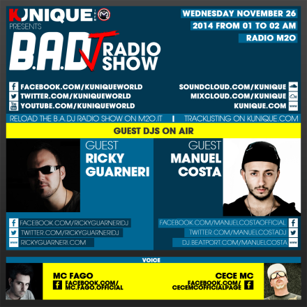 Kunique Too Beat Radio M2O – Wednesday November 26 – Guest Ricky Guarneri & Manuel Costa