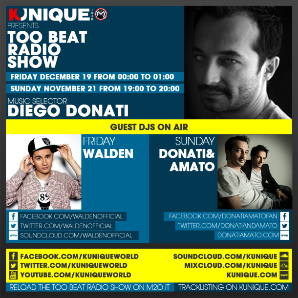 Kunique Too Beat Radio M2O – Friday & Sunday December 19 and 21 – Guest Walden & Donati&Amato