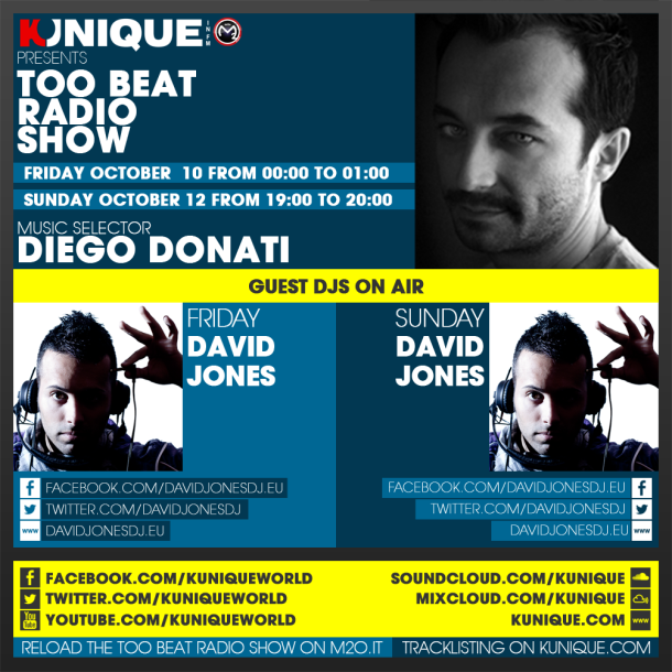 Kunique Too Beat Radio M2O – Friday & Sunday October 10-12 – Guest David Jones