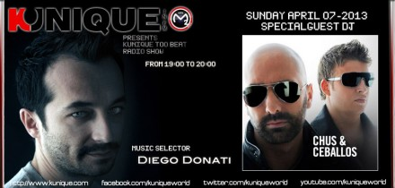 Kunique Too Beat (Radio M2O) Sunday April 07 Special Guest On Air : Chus+Ceballos (Part Two)