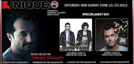 Kunique Too Beat (Radio M2O) Saturday&Sunday June 22-23 Special Guest On Air : Fenixpawl & Sugarstarr