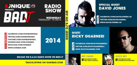 Kunique Badj Radio M2o Wednesday February 19 Special Guest David Jones & Ricky Guarneri