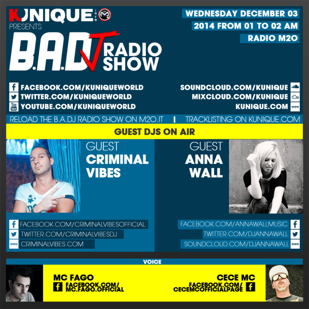 Kunique Too Beat Radio M2O – Wednesday December 03 – Guest Criminal Vibes & Anna Wall