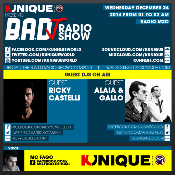 Kunique Too Beat Radio M2O – Wednesday December 24 – Guest Ricky Castelli & Alaia&Gallo