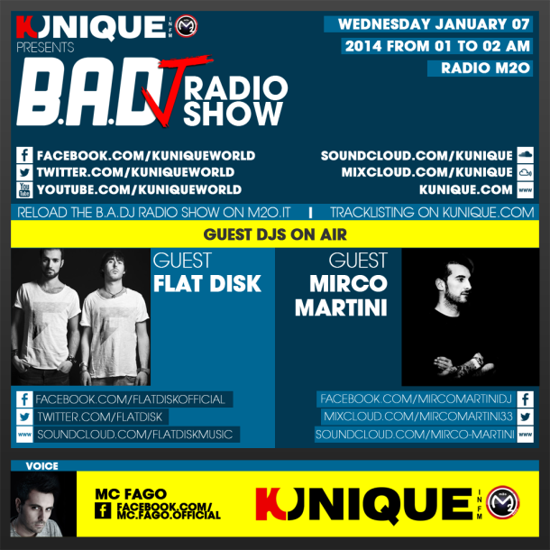 Kunique Too Beat Radio M2O – Wednesday January 07 – Guest Flatdisk & Mirco Martini