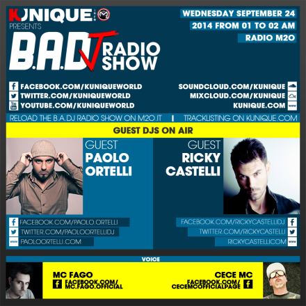 Kunique Too Beat Radio M2O – Wednesday September 24 – Guest Paolo Ortelli & Ricky Castelli