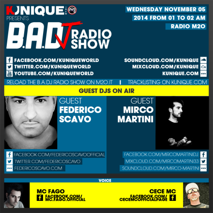 Kunique Too Beat Radio M2o – Wednesday November 05 – Guest Federico Scavo & Mirco Martini