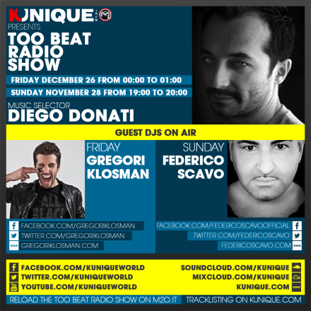 Kunique Too Beat Radio M2O – Sunday November 28 & Friday December 26 – Guest Gregory Klosman & Federico Scavo
