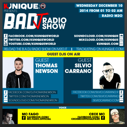 Kunique Too Beat Radio M2O – Wednesday December 10 – Guest Thomas Newson & Silvio Carrano